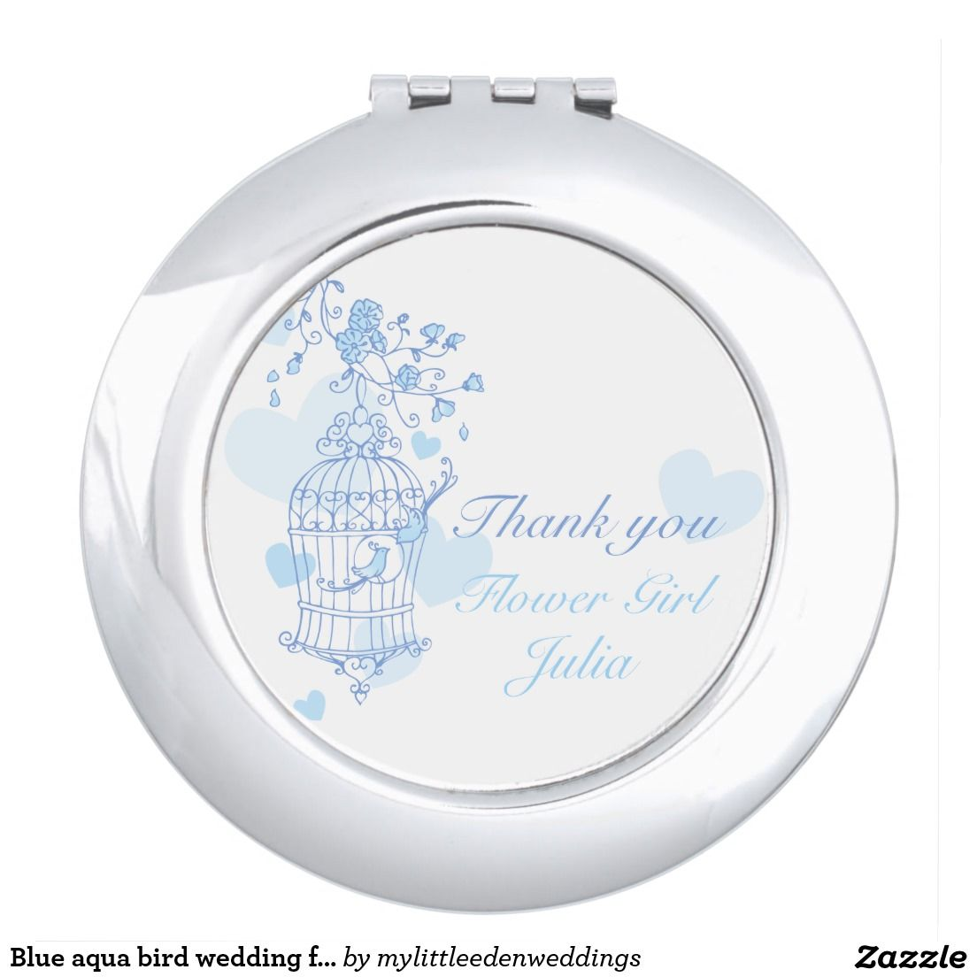 Blue aqua bird wedding favor flower girl mirror vanity mirror ...