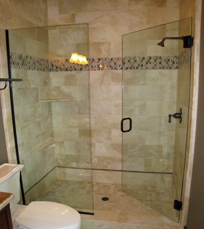 Walk-in shower, glass doors with rubbed oil bronze trim | Bathroom ...