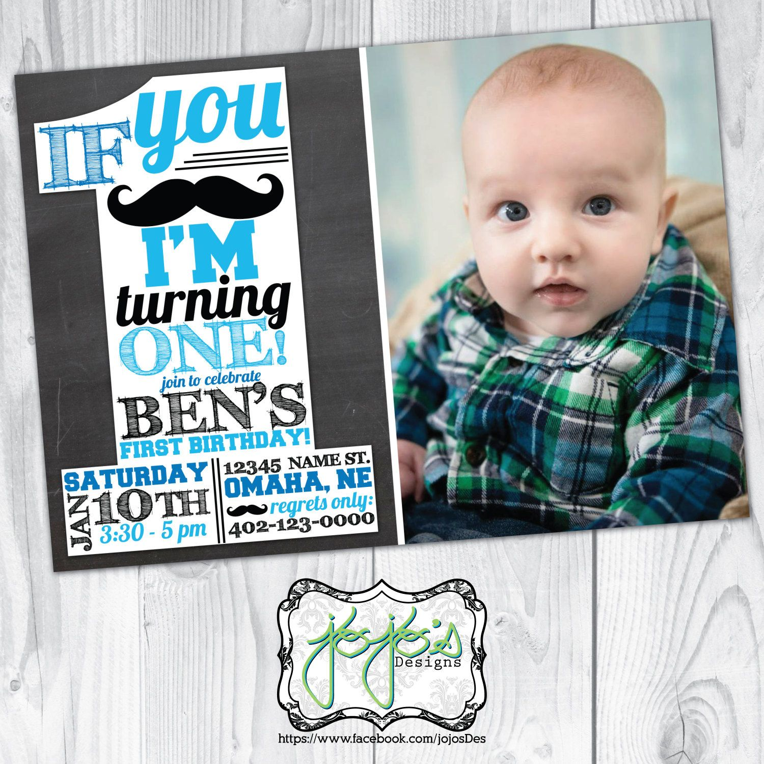 Mustache St Birthday Invitation Photo If You MustacheMust Ask - Digital first birthday invitation