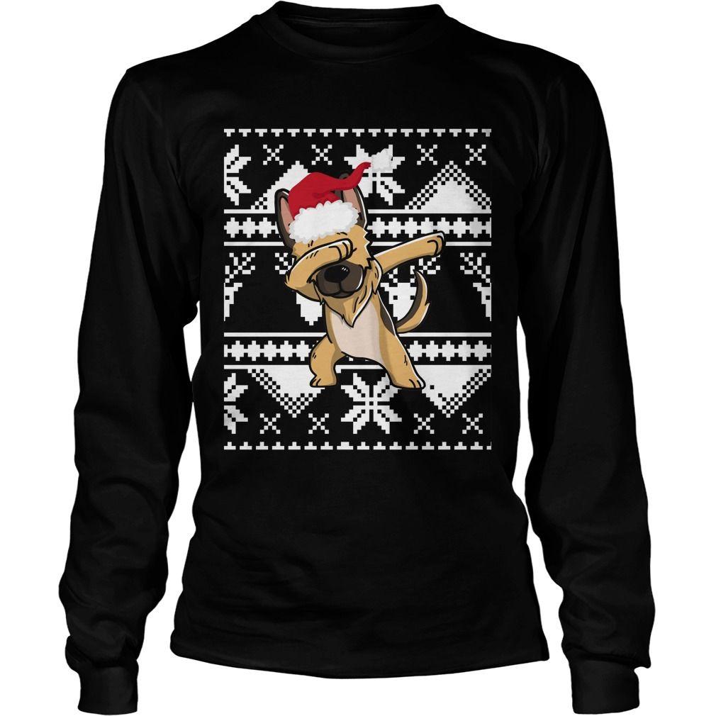dabbing german shepherd ugly christmas sweater