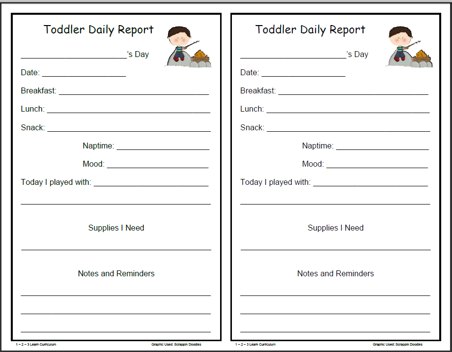 Camping Fun Daily Forms For Infants Toddlers And Preschoolers - Daily lesson plan template for kindergarten