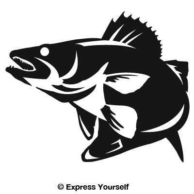 Walleye Striking Decal Fish Silhouette Art Fish Art