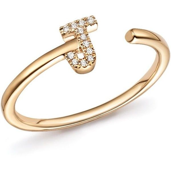 Dana Rebecca Designs Diamond Initial Ring In 14k Yellow Gold 12 045 Uah Liked On Polyvore Featuri Yellow Gold Diamond Ring Gold Rings 14 Karat Diamond Ring