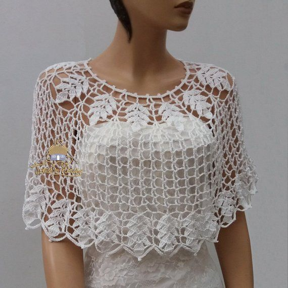 White Bohemian Bridal Capelet for Women, Fairytale Romantic Wedding Lace Bolero, Modest Wedding Cove