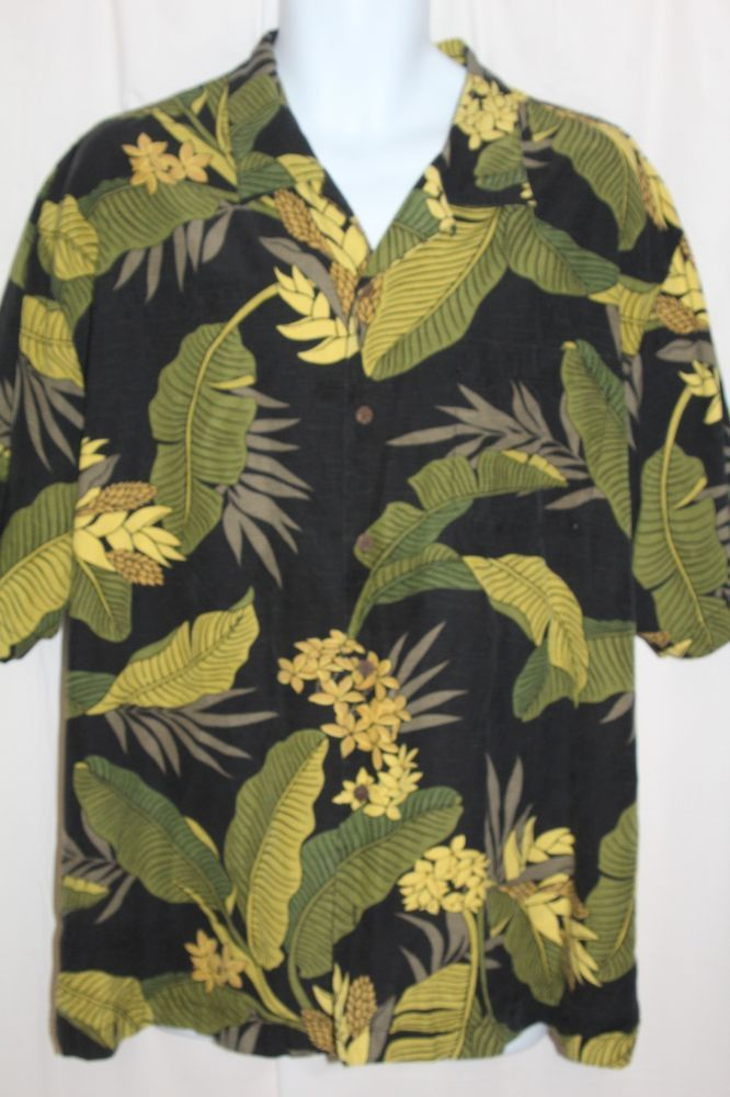 Shirt, Mens; 100% SILK; Tommy Bahama; 'Leaf' Graphics in the Fabric; Button Down; Size: XL
