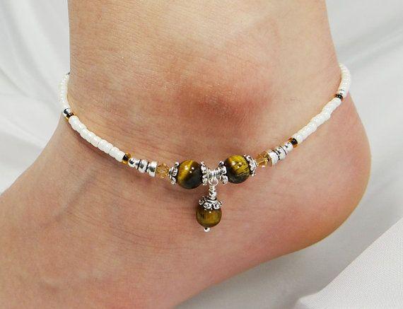 Anklet Ankle Bracelet Tigers Eye With Dangle Tan Swarovski