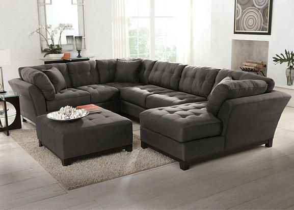 High Quality Rendezvous Gray 3 Pc. Sectional (Reverse)