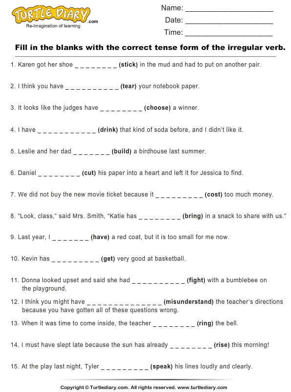 Worksheets and answers Fill in the blanks with irregular verbs