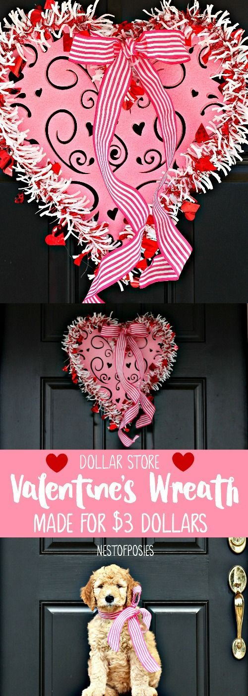 Dollar Store Valentine S Wreath Made For 3 Dollars Share Your
