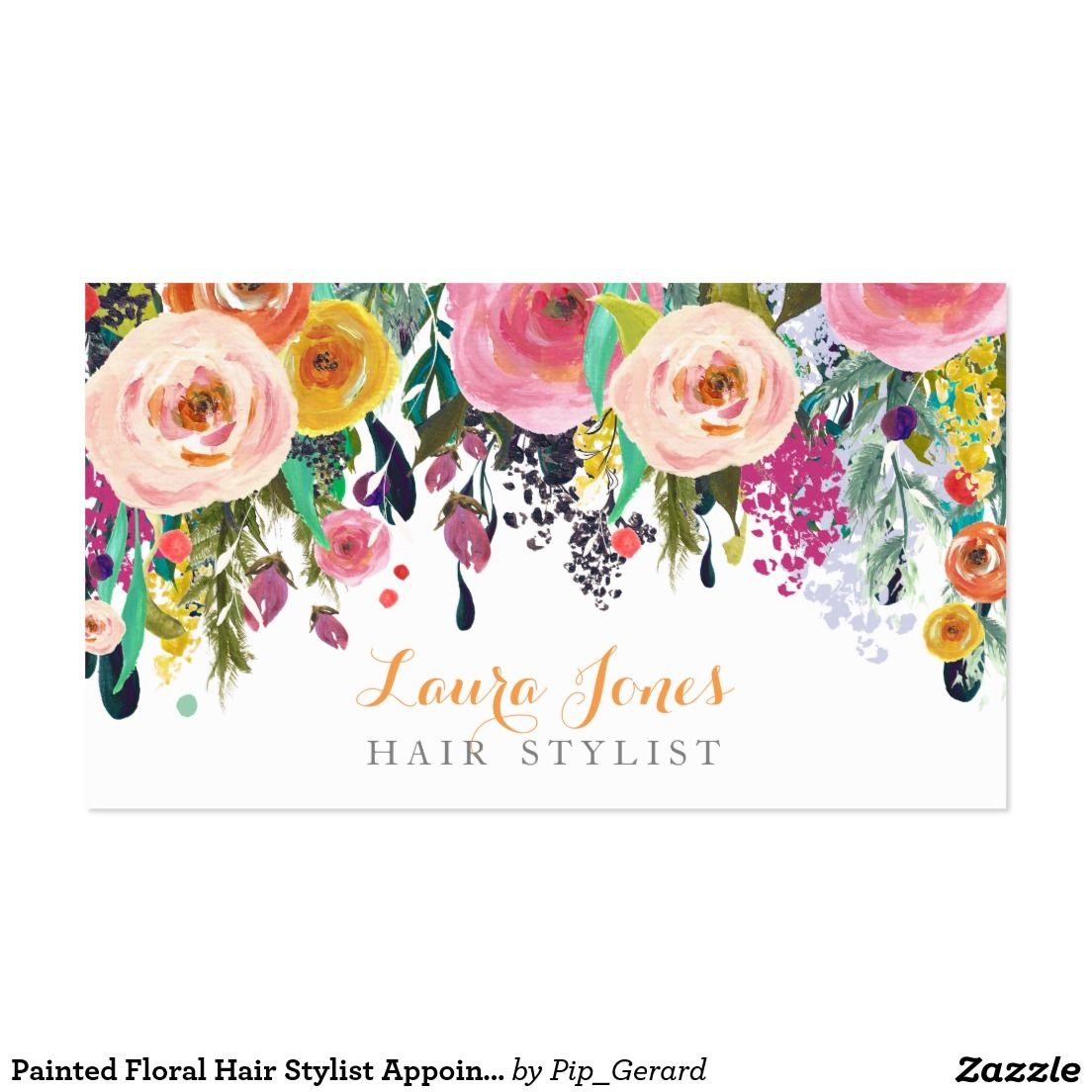 Painted Floral Hair Stylist Appointment Cards - Gorgeous bright ...