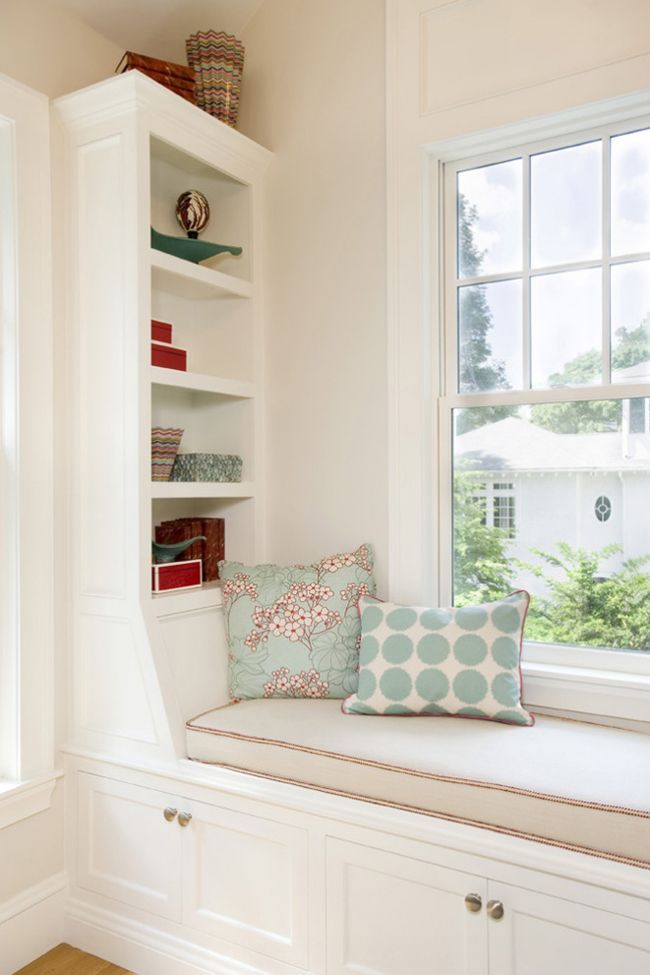 Built-in seat with shelves...so pretty. House of Turquoise: Window Seats  BedroomWindow ...
