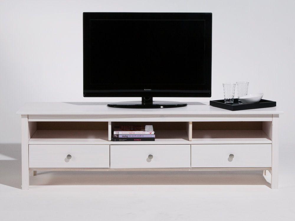 Meuble TV bas en bois massif 3 tiroirs Longueur 158cm BERNA