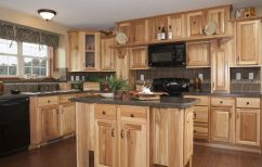 Ravishing Design Interior Of Minimalist Home Kitchens Ideas Unfinished Hickory Oak Kitchen Cabinet And Small Kitchen Island Using Dark Gray Stone Countertop With Shaker Door Storage