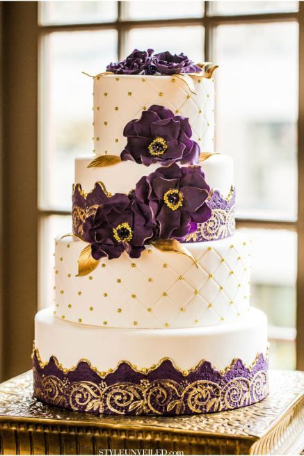 Purple And Gold Wedding Cake Shared On Style Unveiled