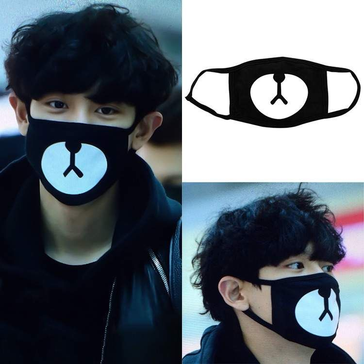 Unisex Black Bear Cycling Anti-dust Tool Cotton Cute Bear Mouth Face Mask Korean Style Kpop Exo Protective Cover Masks Apparel Accessories