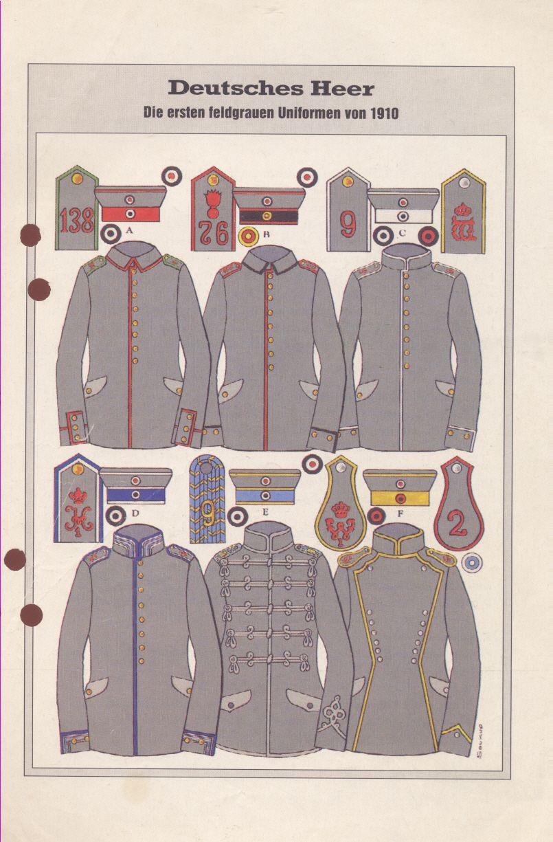 Deutsche Uniformen, feldgrau, 1910 - Erklärung dazu auf http://t1p.de/Familienforschung