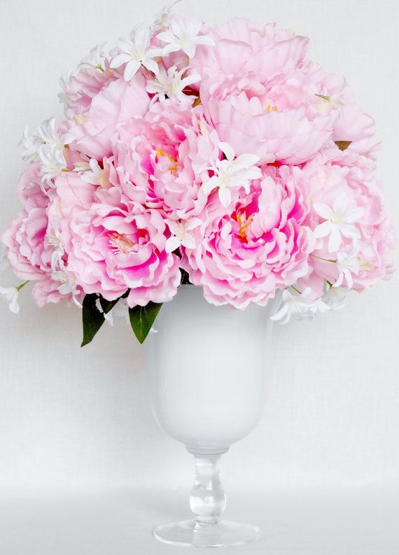 Silk Fl Arrangement Pink Peonies White By Beautyeverlasting