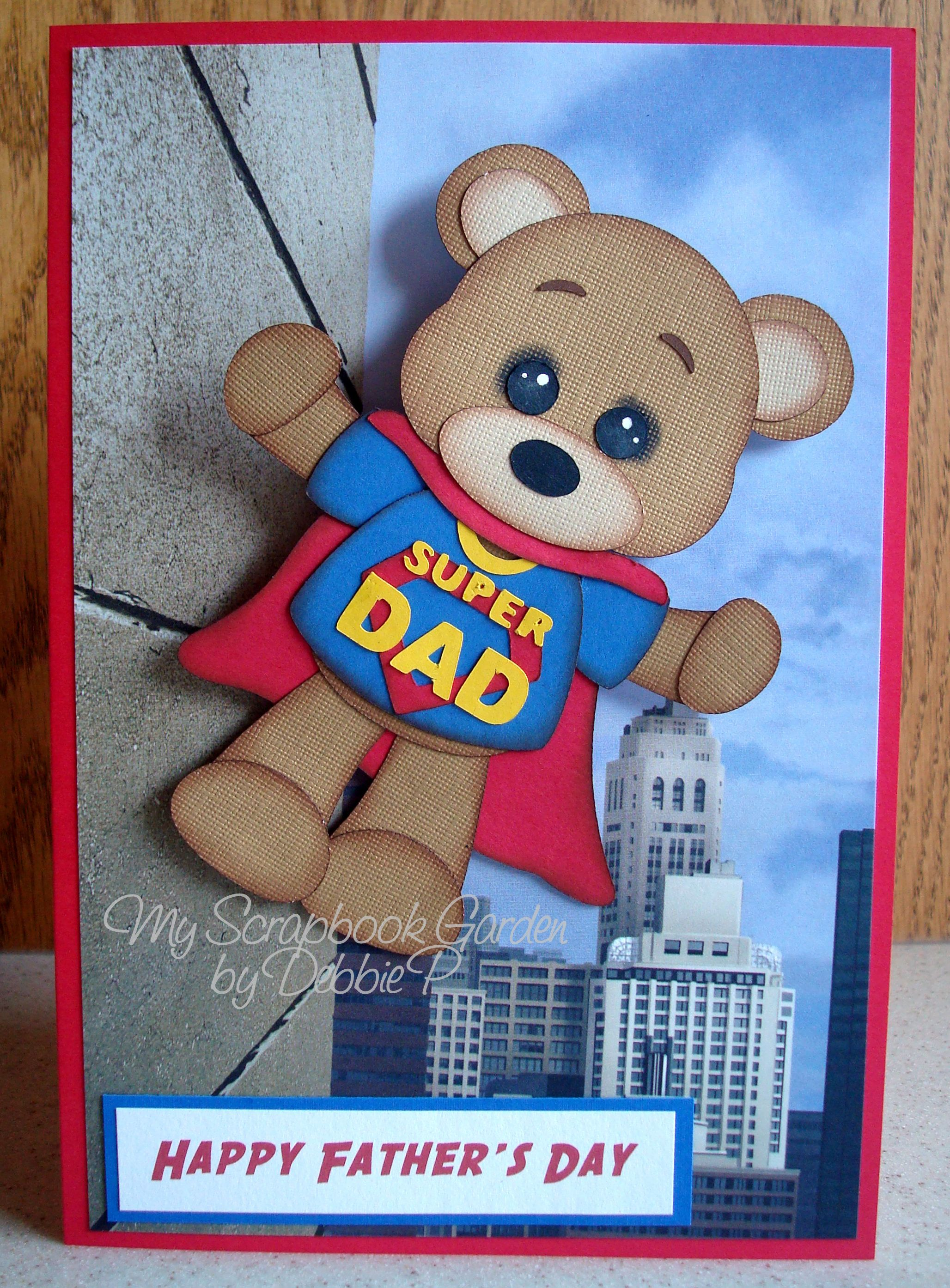 Father's Day card I created using the Super Dad svg file available at www.cuddlycutedesigns.com.  Used an action wobble under the bear.  DT Debbie