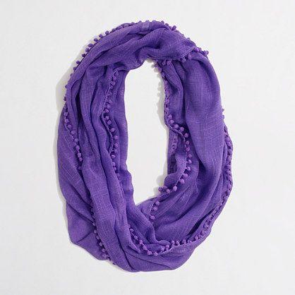 J.Crew Factory infinity scarf with bubble trim   Marrakech purple