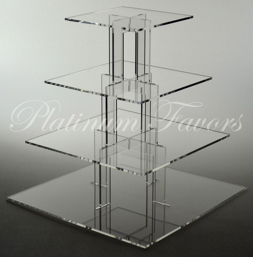 4 Tier Square Acrylic Cupcake Stand Clear Wedding Cake Stand