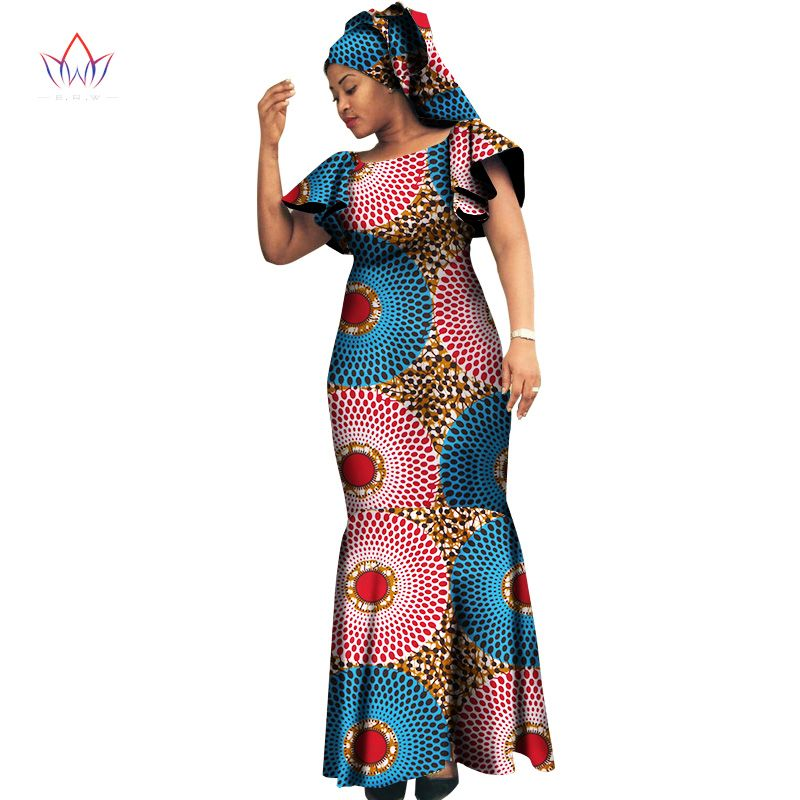 3609f58b0c6 2018 african dresses for women Fashion Design dashiki women bazin riche  o-neck long dress dashiki plus size natural 6xl WY1095