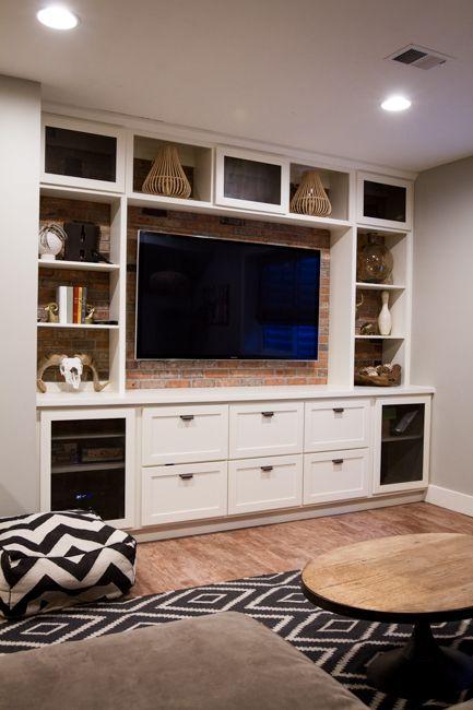 built in entertainment center bricks entertainment and basements. Black Bedroom Furniture Sets. Home Design Ideas
