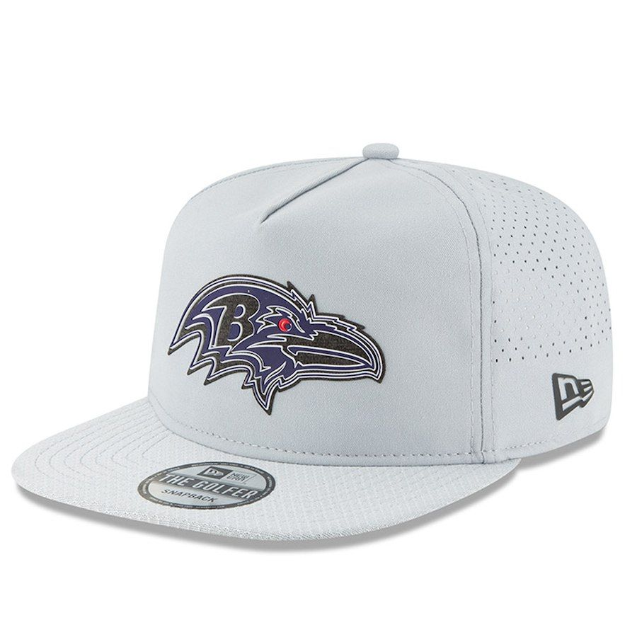 Men s Baltimore Ravens New Era Gray 2018 Training Camp Official Golfer Hat 64633d48d996