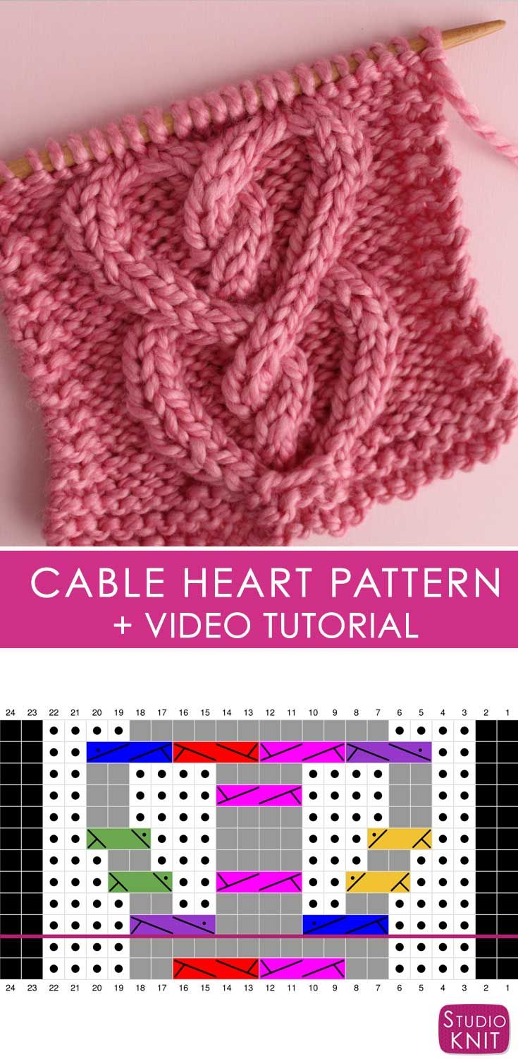 How to Knit a Cable Heart | Puntadas, Tejido y Dos agujas