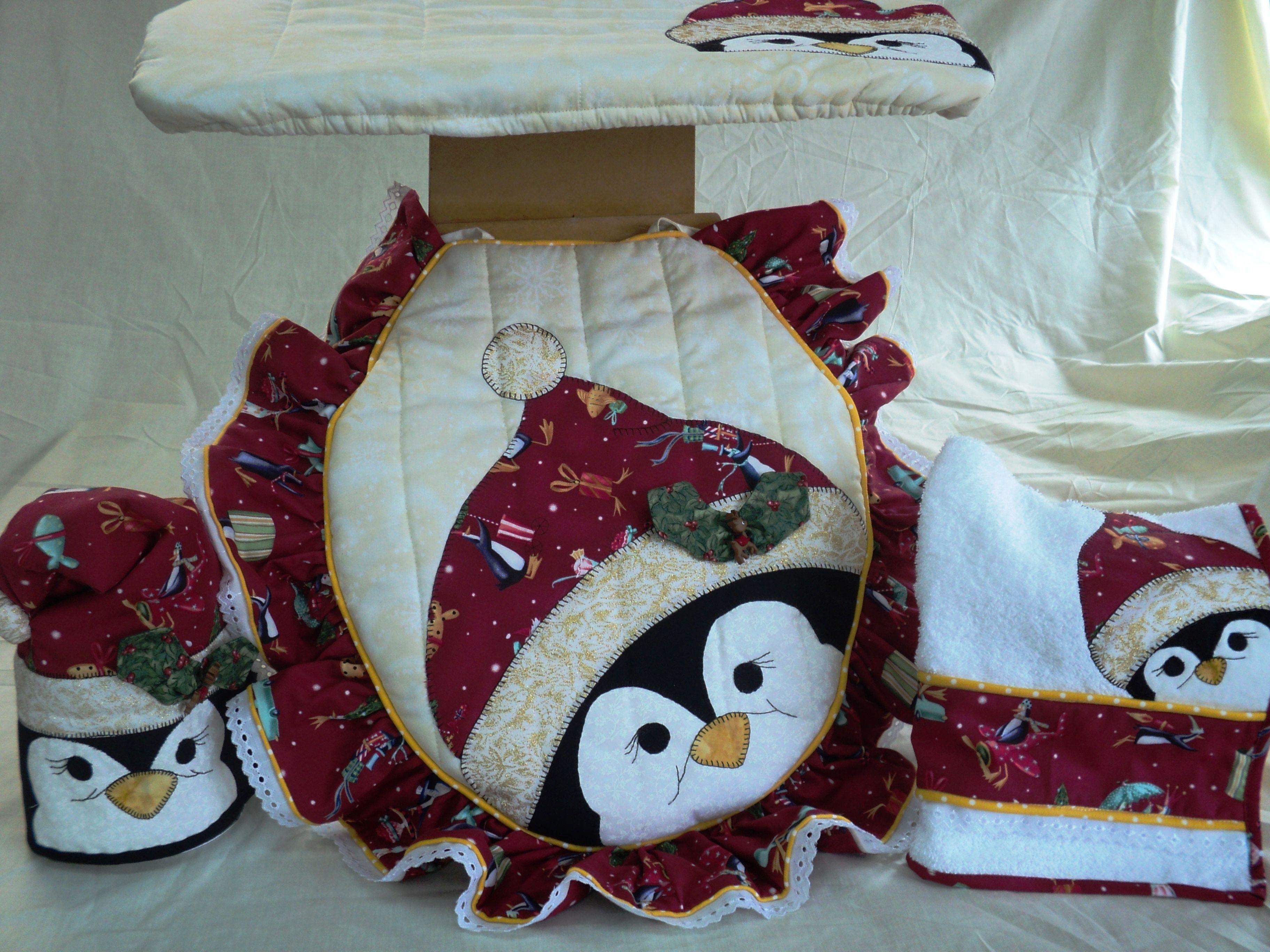 set de baÑo navideÑo de pinguino: tapa de poceta, tapa de tanque