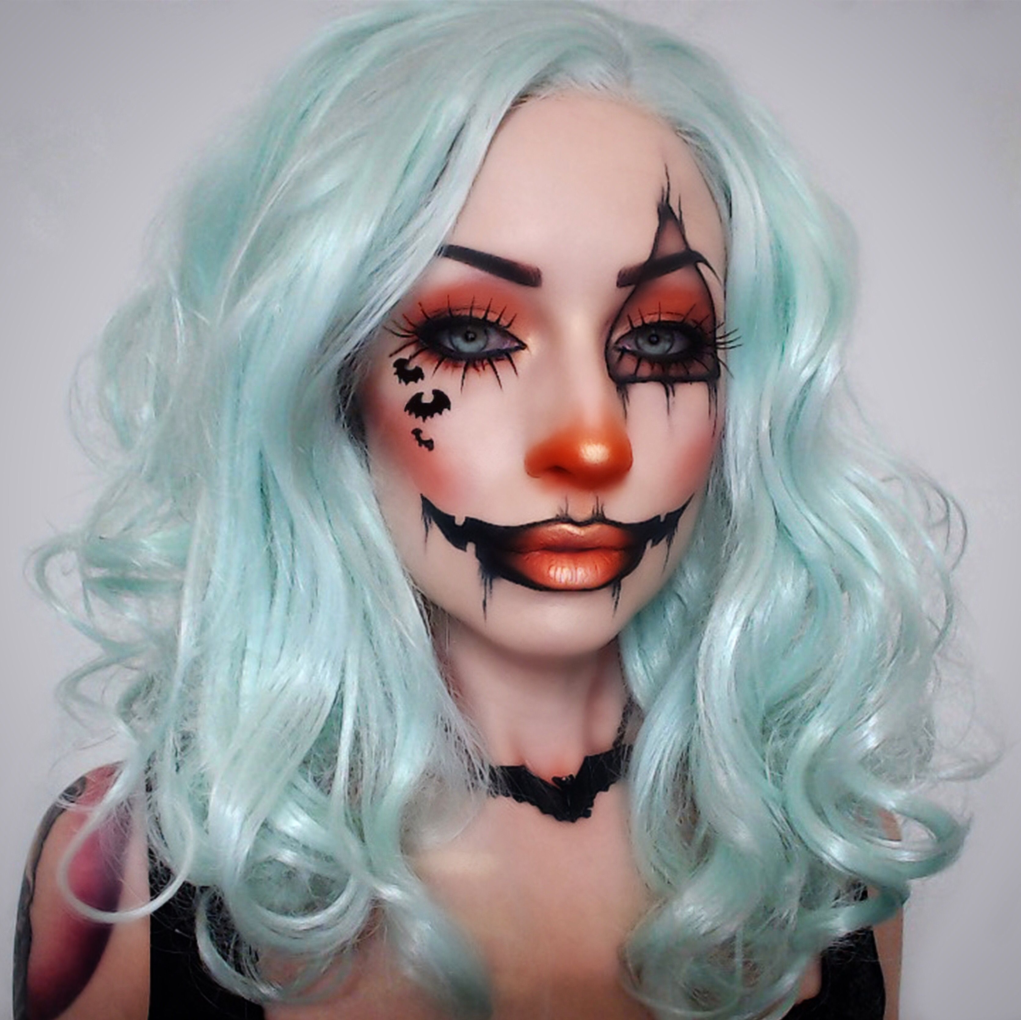 Pumpkin Clown bat makeup jackolantern fx cute Halloween