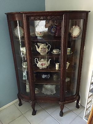 ee173181de766 Very-Rare-Antique-Corner-China-Cabinet-Claw-Foot-Bow-Glass ...