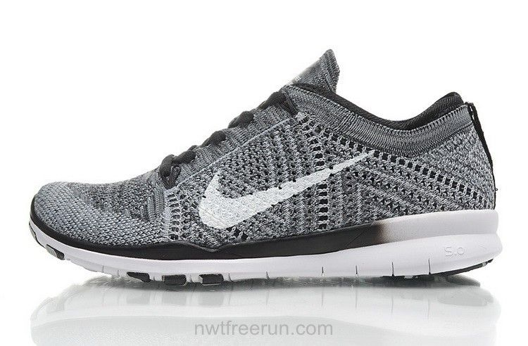 718785 005 Nike Free TR Flyknit 5.0 Running Shoes Womens Grey White Black  Training Running Sneakers