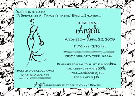 breakfast at tiffanyu0027s themed bridal shower Breakfast at - bridal shower invitation samples