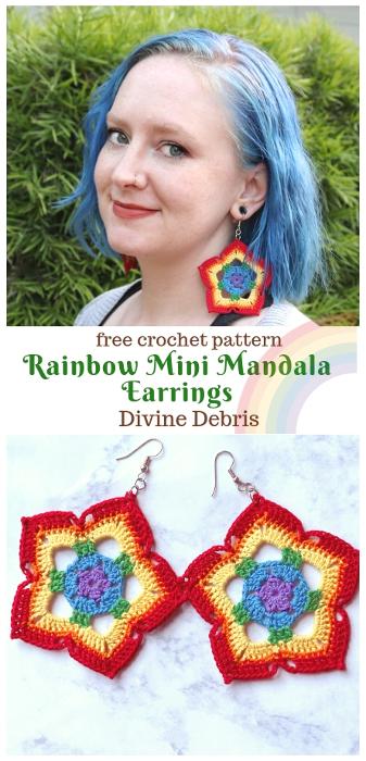 Rainbow Mini Mandala Crochet Earrings free crochet pattern