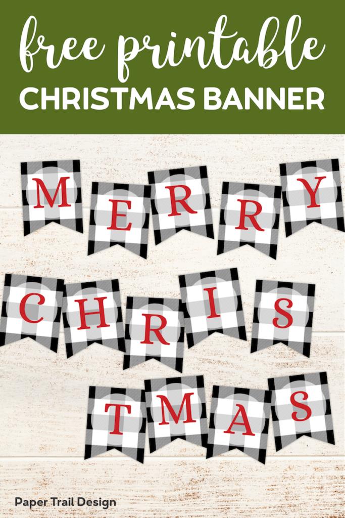 Plaid Christmas Banner Letters Printable. Create a custom Christmas banner that says Merry Christmas, ho ho ho, peace, joy, or any message. #papertraildesign #merrychristmas #merrychristmasbanner #christmasdecor #christmasdecorations #plaidbanner #freeprintable