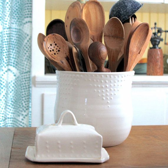 Extra Large Kitchen Utensil Holder Custom Color By Backbaypottery
