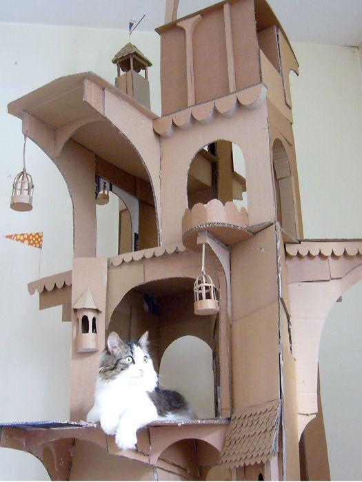 cardboard cat tower cat