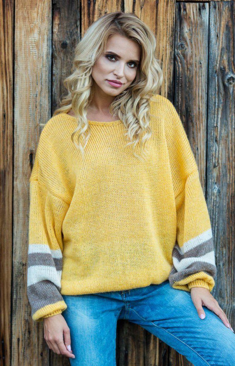 9099c9cd Fobya F578 sweter żółty - Swetry damskie - MODA DAMSKA - Sklep ...