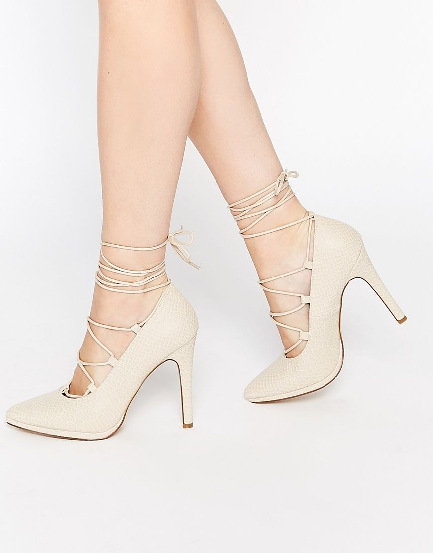 Buy Women Shoes / Call It Spring Tortosa Nude Tie Up Heeled Court Shoes