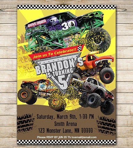monster jam birthday invitations using an excellent design idea