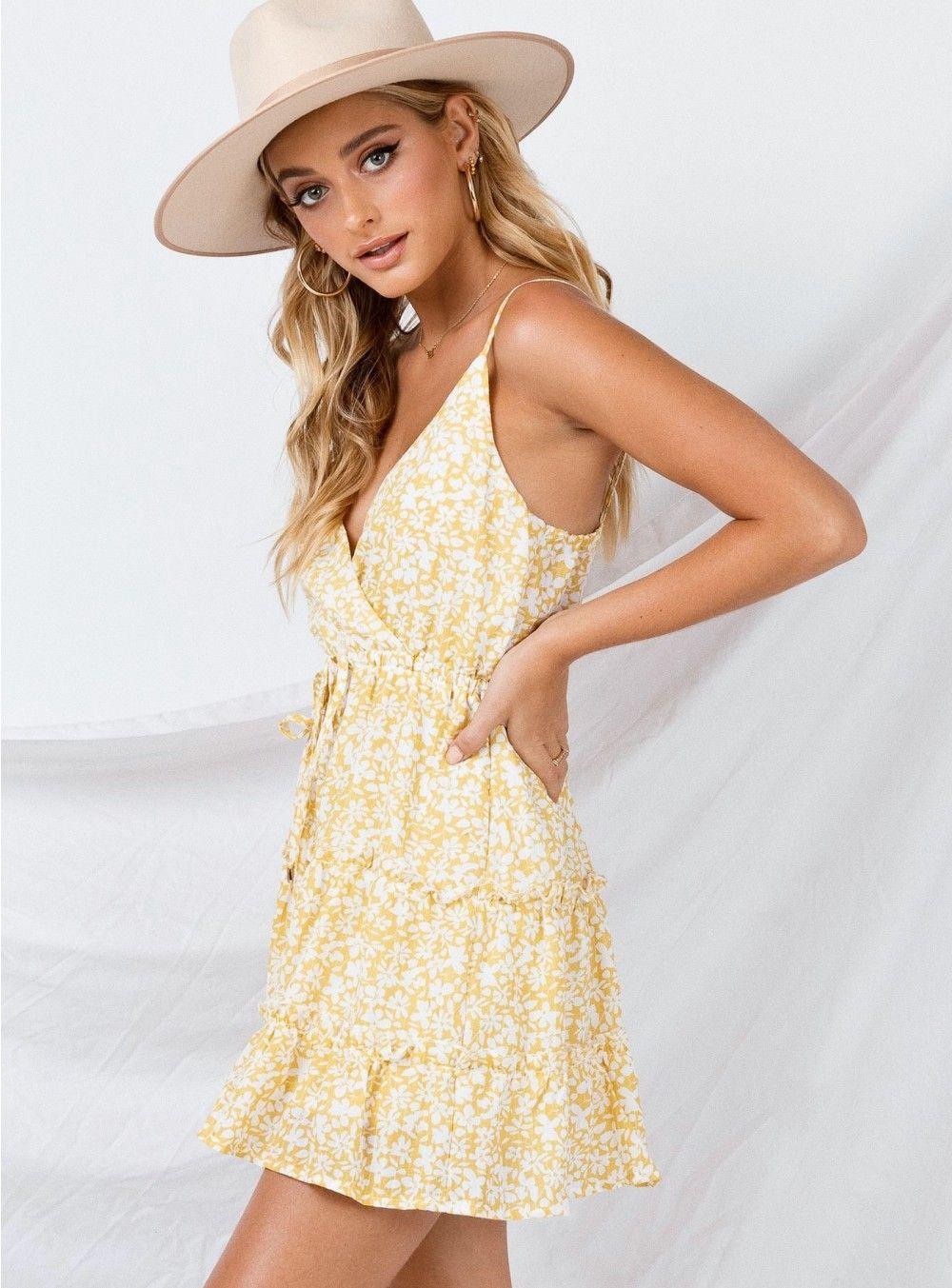 Alleste Mini Dress Yellow Dresses Cute Summer Dresses Mini Dress [ 1353 x 1000 Pixel ]