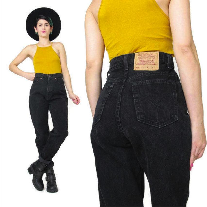 Vintage Levis 521 Jeans Black Denim Jeans Womens Boyfriend Jeans