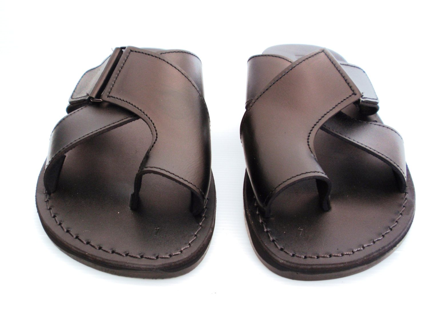 b45289a7c79a9 Summer Beach Sandals, Brown Leather Sandals for women and Men ...