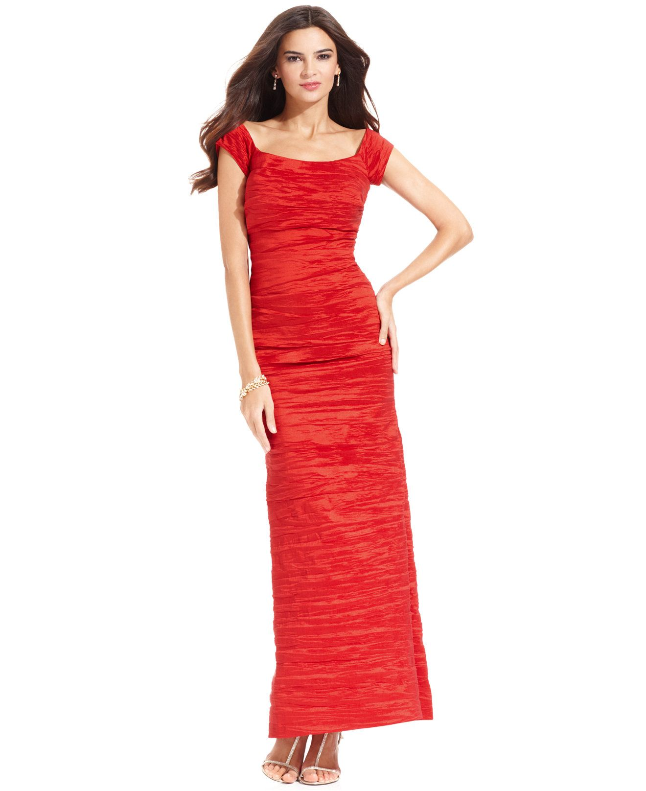 Alex Evenings Dress, Off the Shoulder Taffeta Crinkle Gown - Dresses ...
