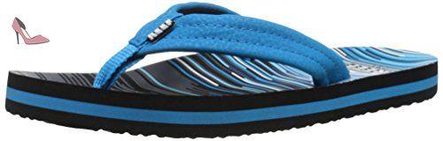 Reef Ahi, Sandales Plateforme mixte bébé, Multicolore (Blue Lines), 21-