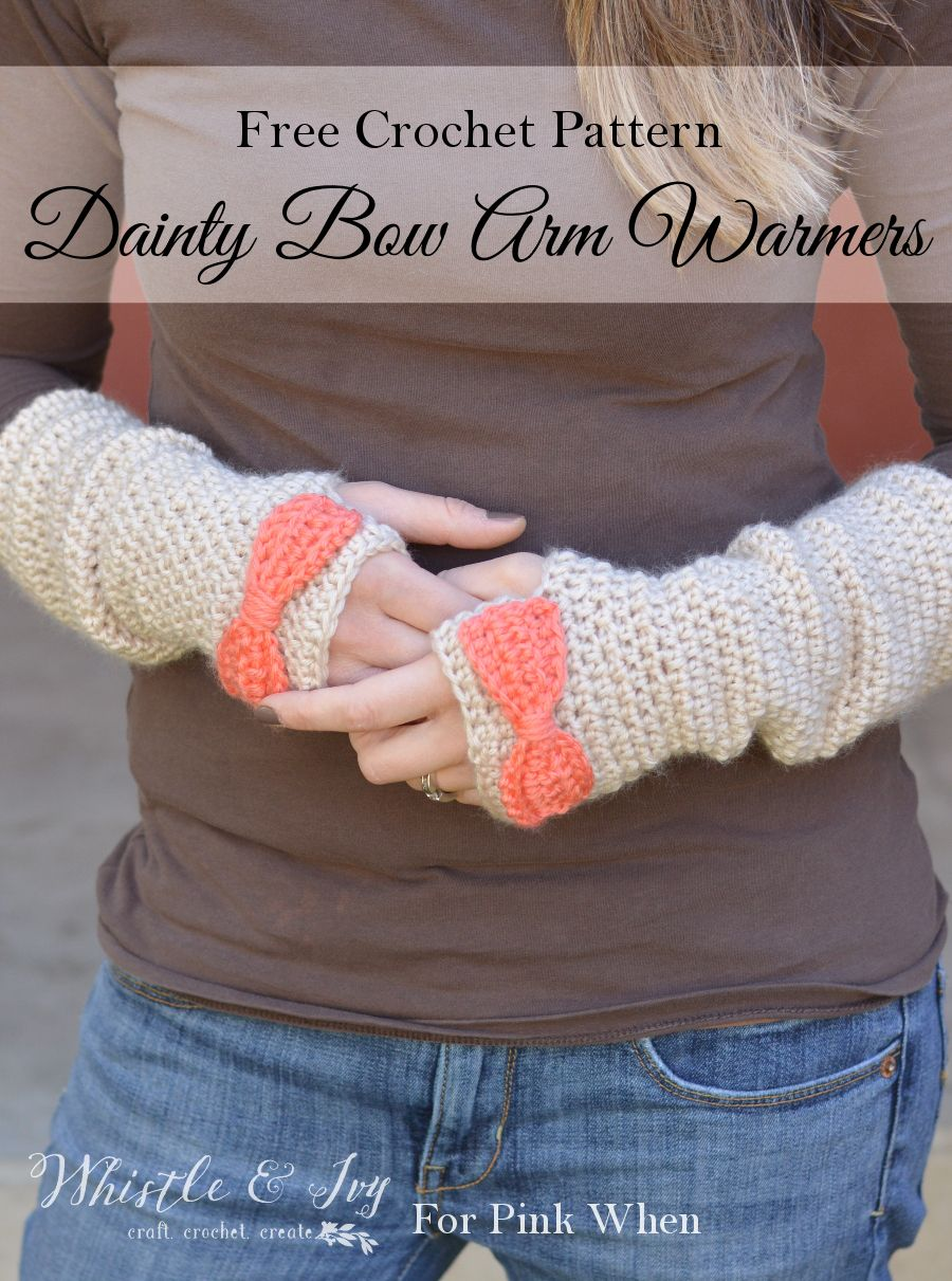Dainty Bow Crochet Arm Warmers | Ganchillo, Tutoriales y Patrones de ...