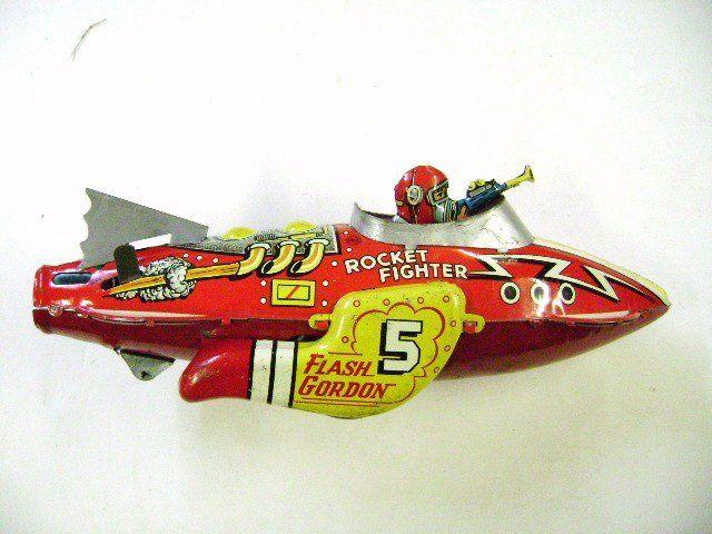 "Way Cool: Marx NY, King Features Syndicate Flash Gordon No5 Rocket Racer 12"" Long tin litho wind-up"