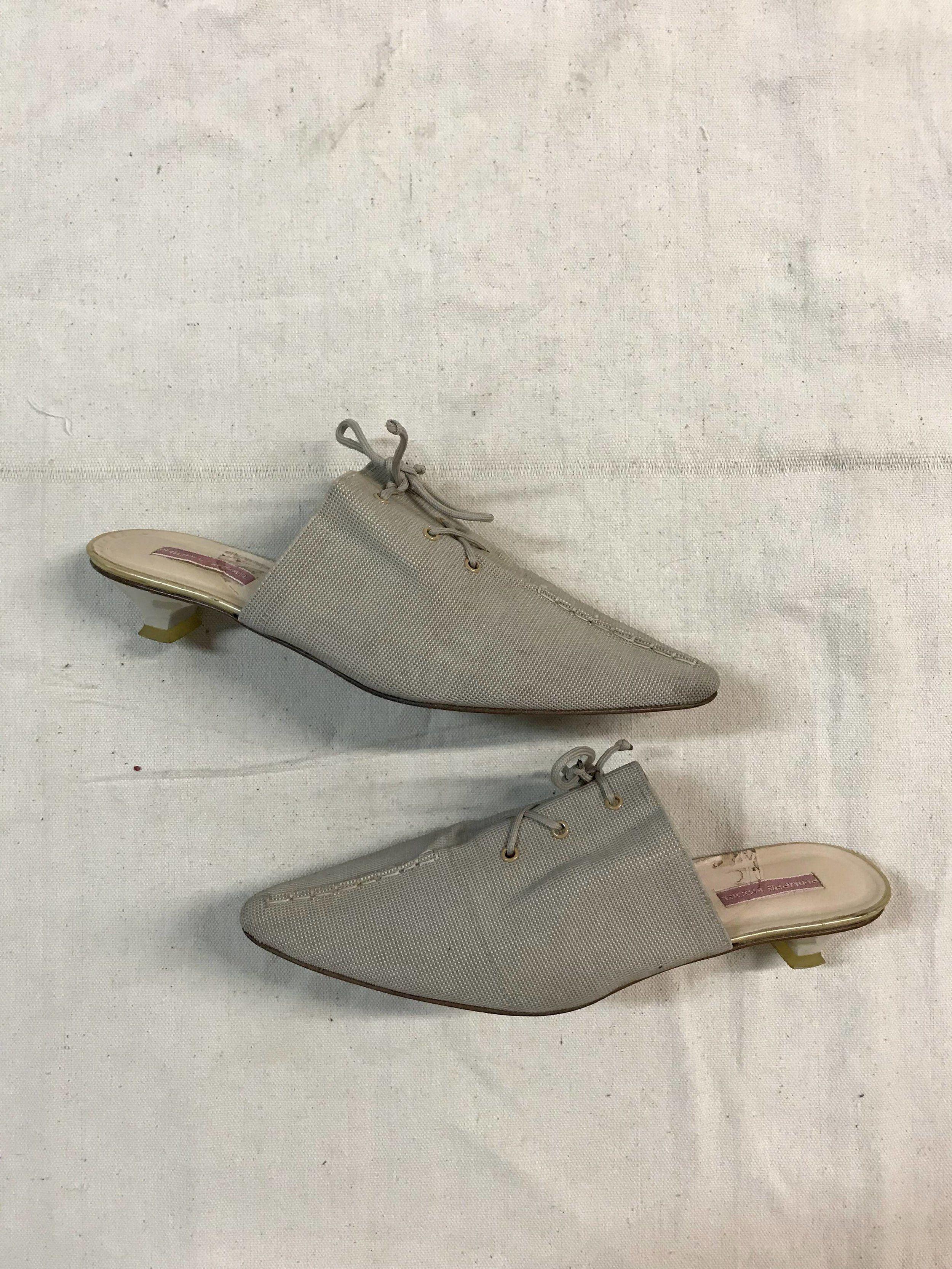 92b04ad6156d2 Vintage 90s pointed toe lace up minimal kitten heel mule / elastic ...