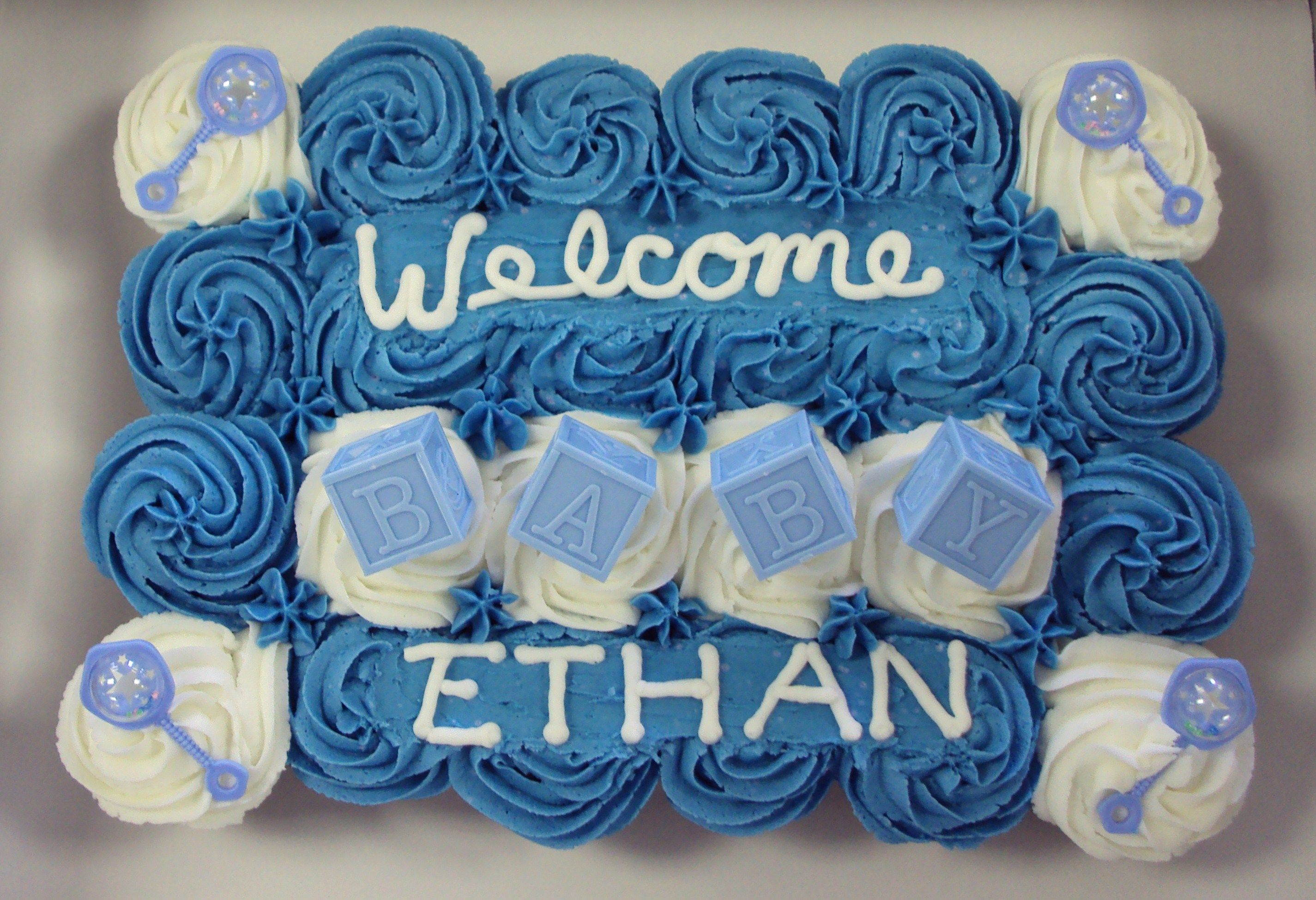 Baby Boy Shower Cupcake Cake Welcome Baby With Plastic Favor
