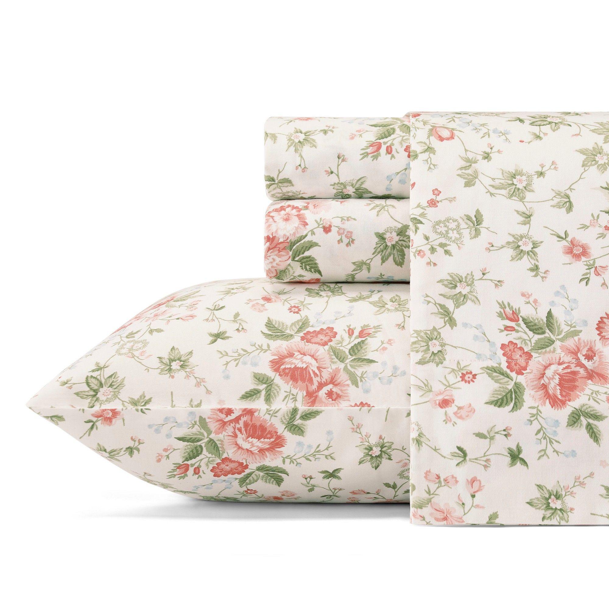 Cotton lilian thread count sheet set queen light pastel red